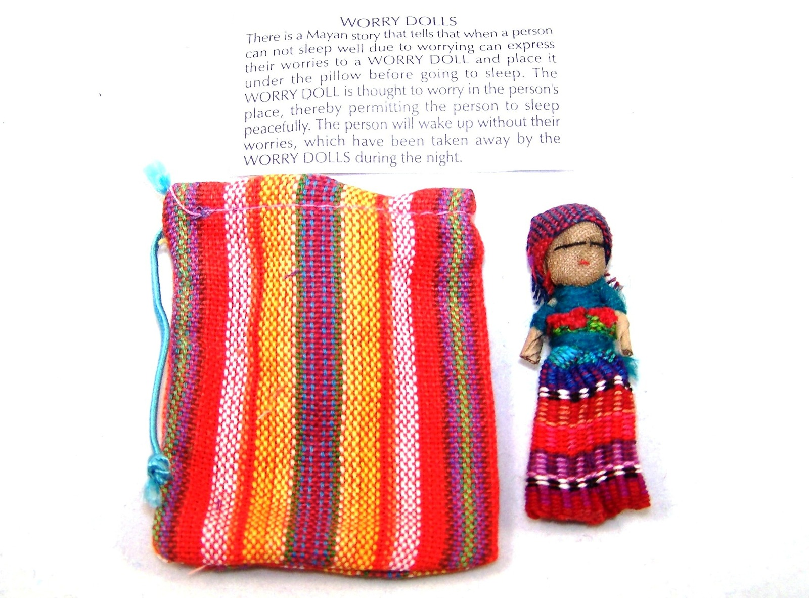 Mexitraders Single Worry Doll In A Textile Pouch